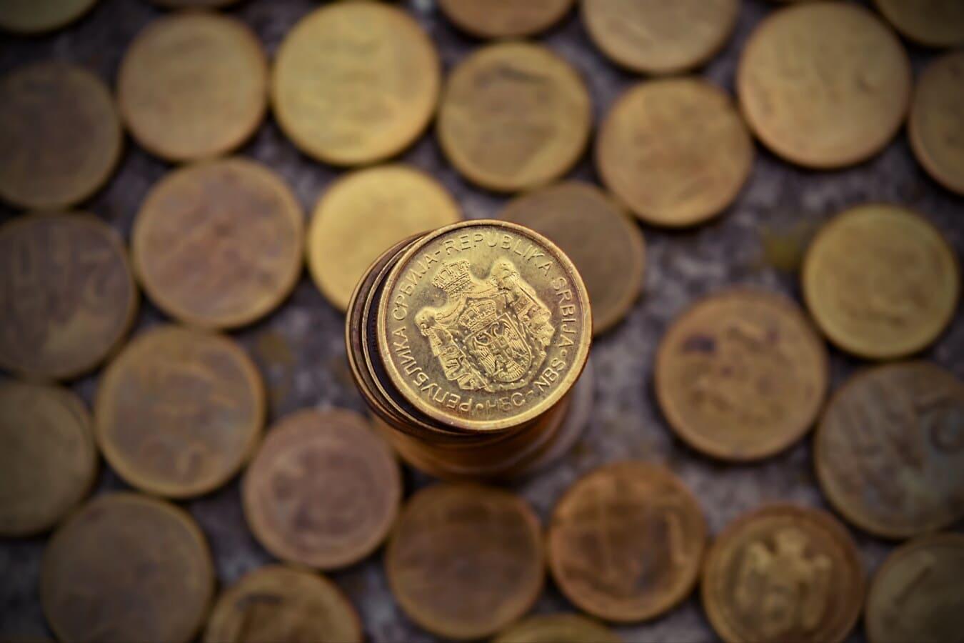 Bargeld, Metall, Münzen, Fortune, Geld, Austausch, reiche, goldener Glanz, Investition, Stapel