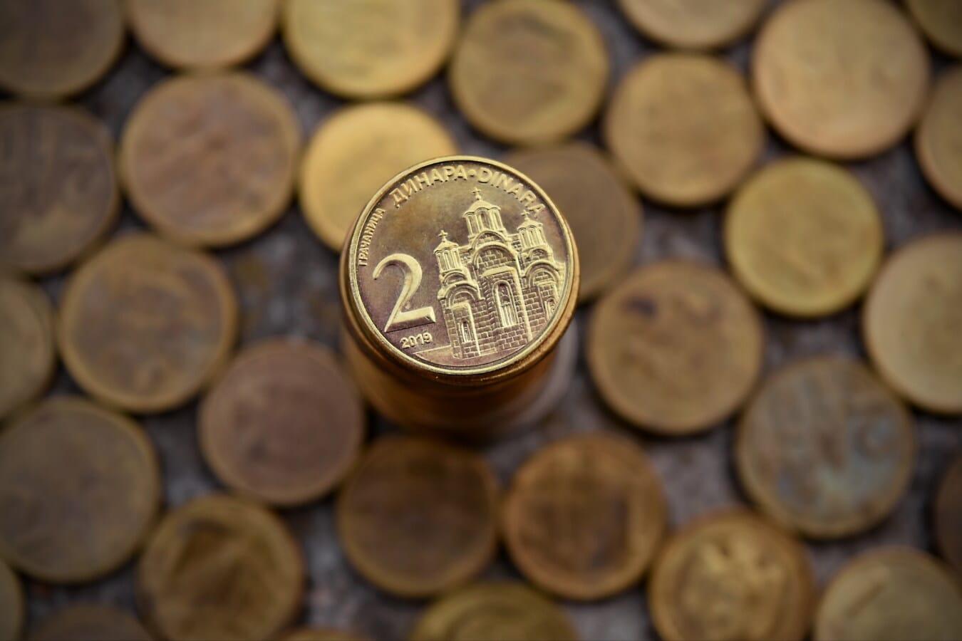 Währung, Metall, Serbien, Münzen, glänzend, Bargeld, Einsparungen, Textur, reiche, Fortune