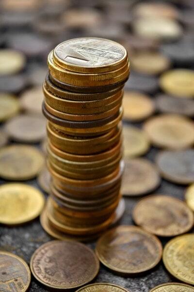 Münzen, Dollar, Metall, Fortune, reiche, Investition, Cent, viele, Geld, Stapel