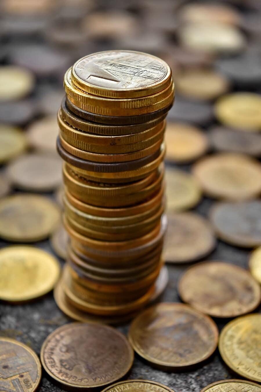 pièces de monnaie, Dollar, Metal, fortune, riche, investissement, cent, de nombreux, argent, pile