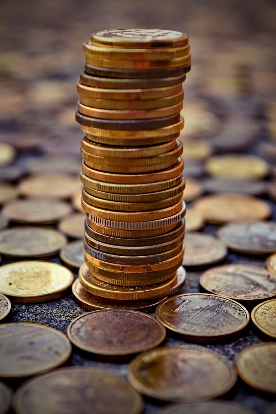 Münzen, Metall, Stapel, Geld, reiche, Fortune, Pfennig, Investition, wirtschaftliches Wachstum, Bargeld