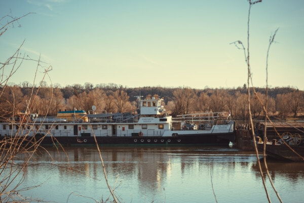 transport, cargo ship, barge, heavy, equipment, industrial, shipment, water, boat, river