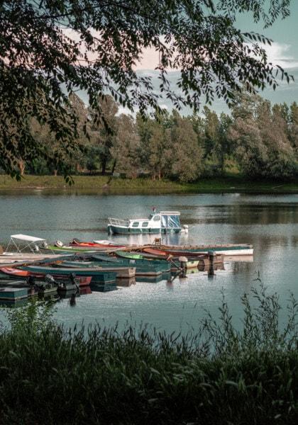 boats, motorboat, pier, riverbank, resort area, water, boat, lake, river, reflection