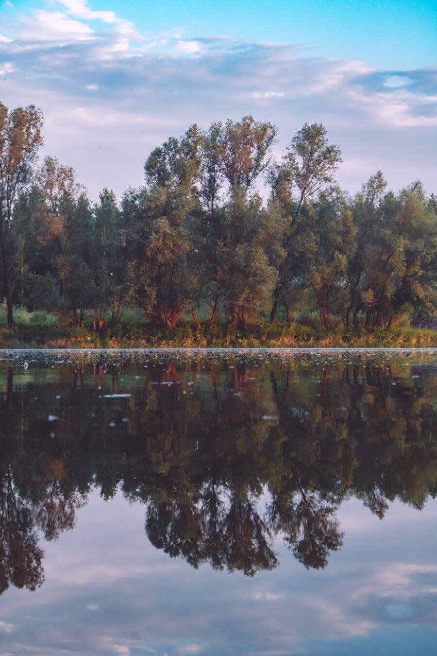 am See, Sommerzeit, See, Natur, majestätisch, Ruhe, ruhig, Reflexion, Wasser, Landschaft