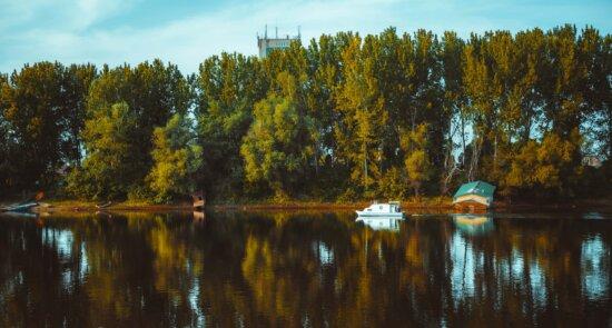 paysage, bateau, réflexion, remise à bateaux, Parc national, automne, à l'extérieur, peuplier, forêt, arbre