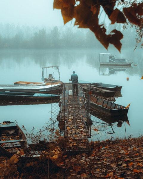 boats, pier, fishing boat, bad weather, foggy, man, autumn season, winter, water, lake