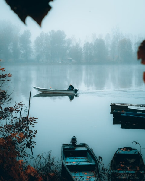 foggy, morning, winter, fishing boat, fisherman, motorboat, water, fog, boat, dawn