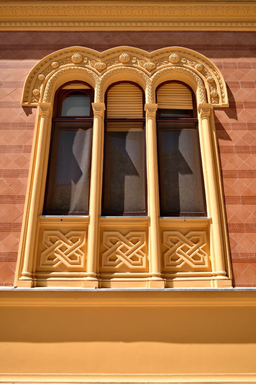 Design, Arabeske, fenster, drei, Fenster, Fassade, Architektur, Gebäude, Haus, Klassiker