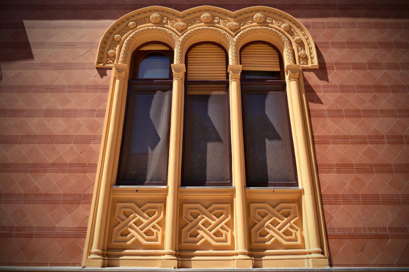 drei, fenster, Arabeske, Arch, Barock, Ornament, architektonischen Stil, Fassade, Fenster, Architektur