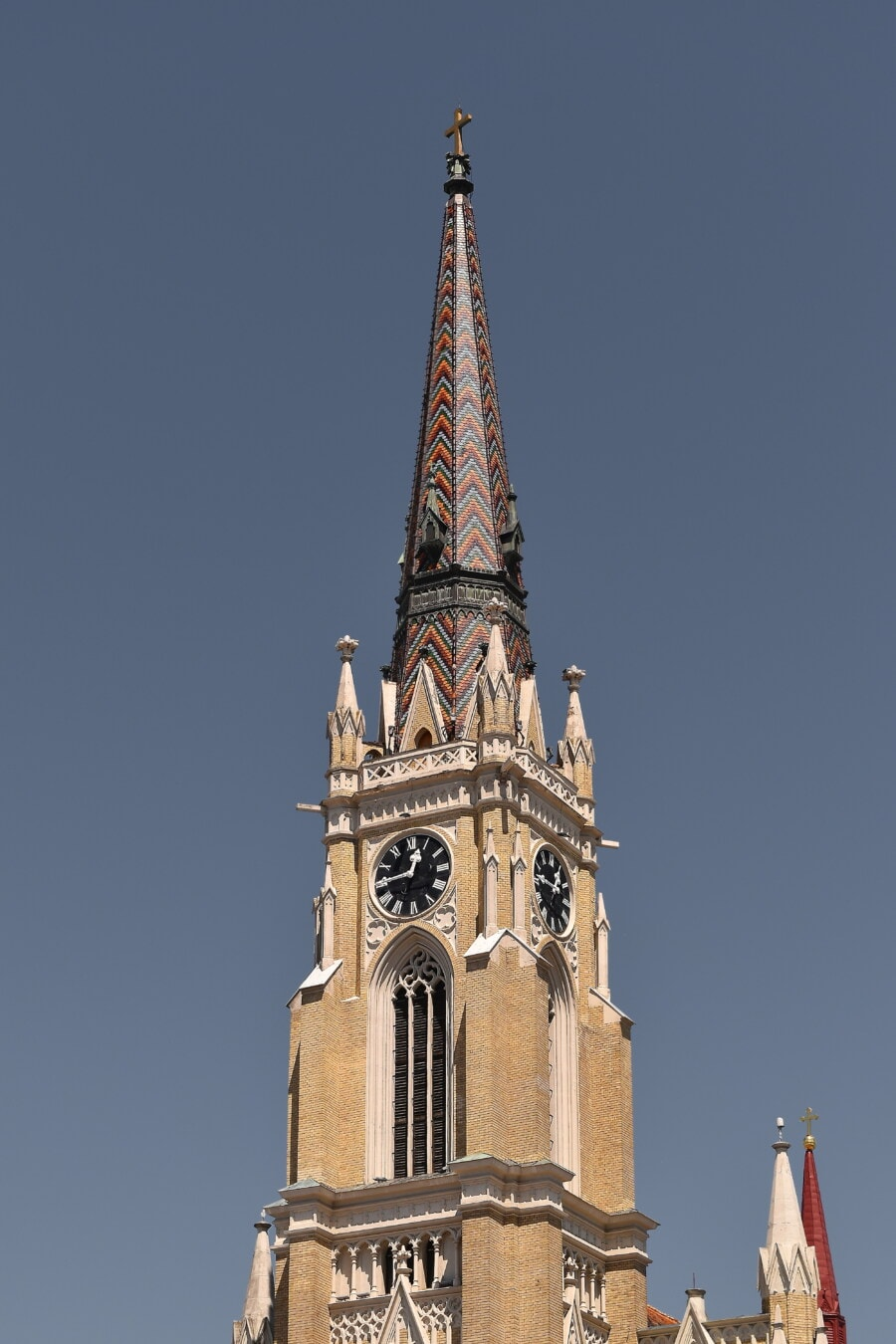 cathedral, gothic, architectural style, analog clock, landmark, building, church, architecture, covering, tower