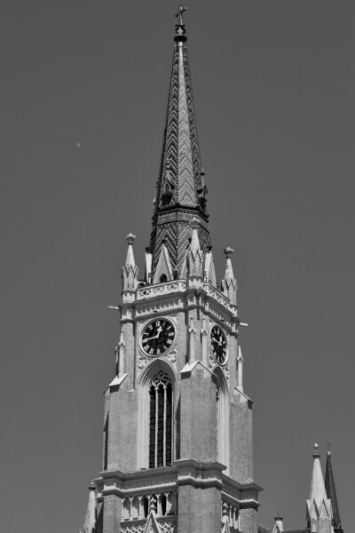 church, gothic, church tower, monochrome, black and white, tower, cathedral, covering, clock, landmark