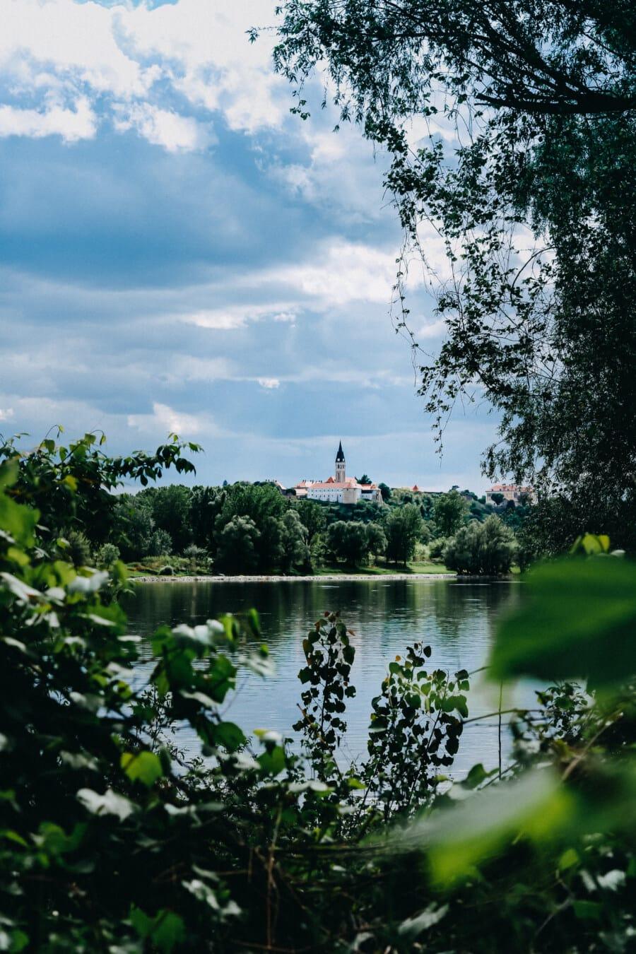 church tower, castle, distance, riverbank, river, landscape, swamp, lake, tree, water