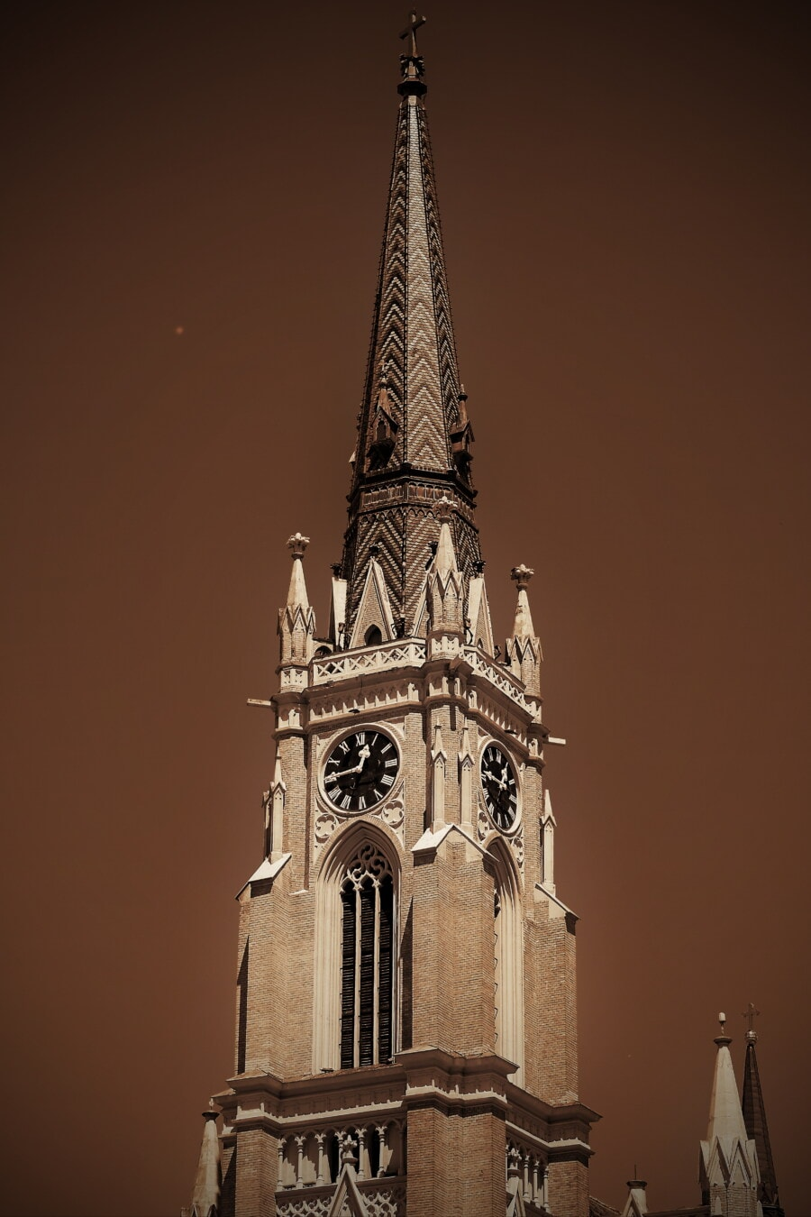 sepia, gothic, church tower, analog clock, cathedral, historic, culture, heritage, landmark, church
