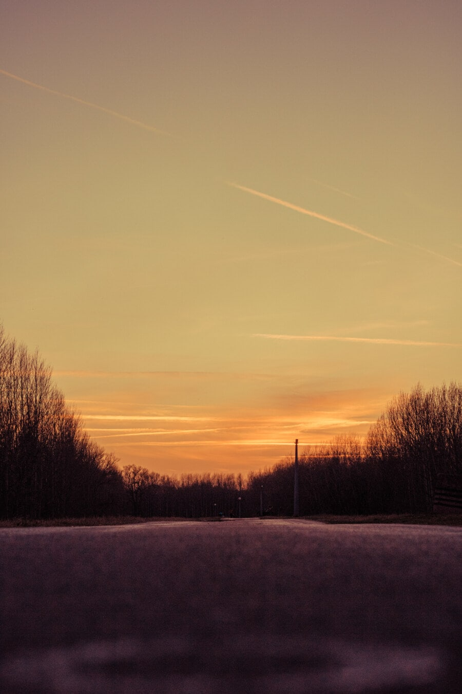 vide, Itinéraire, asphalte, coucher de soleil, soleil, aube, lumière, soirée, paysage, atmosphère