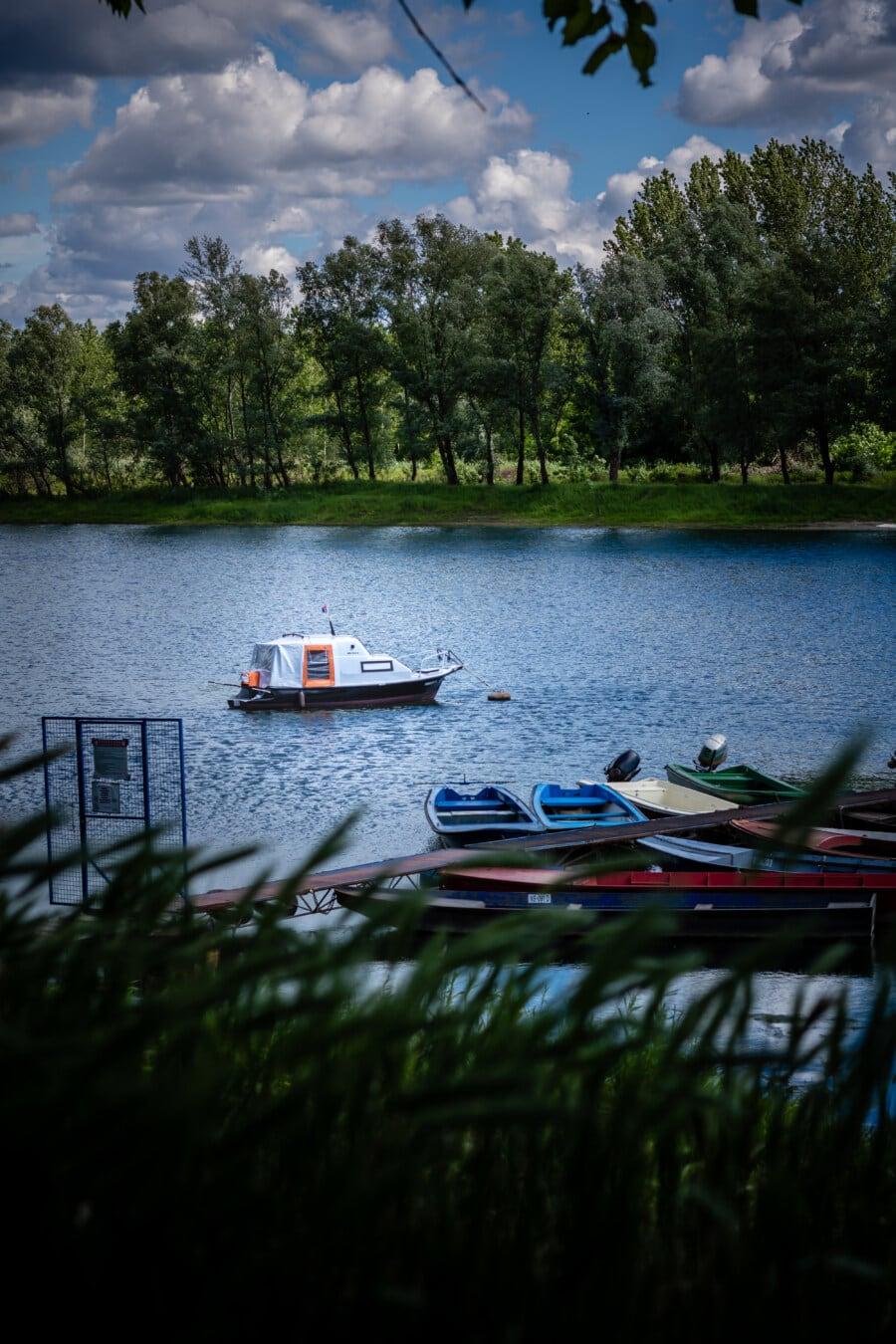 Motorboot, Fluss, Flussschiff, Boote, Erholungsgebiet, Kanal, Boot, Wasser, See, Struktur