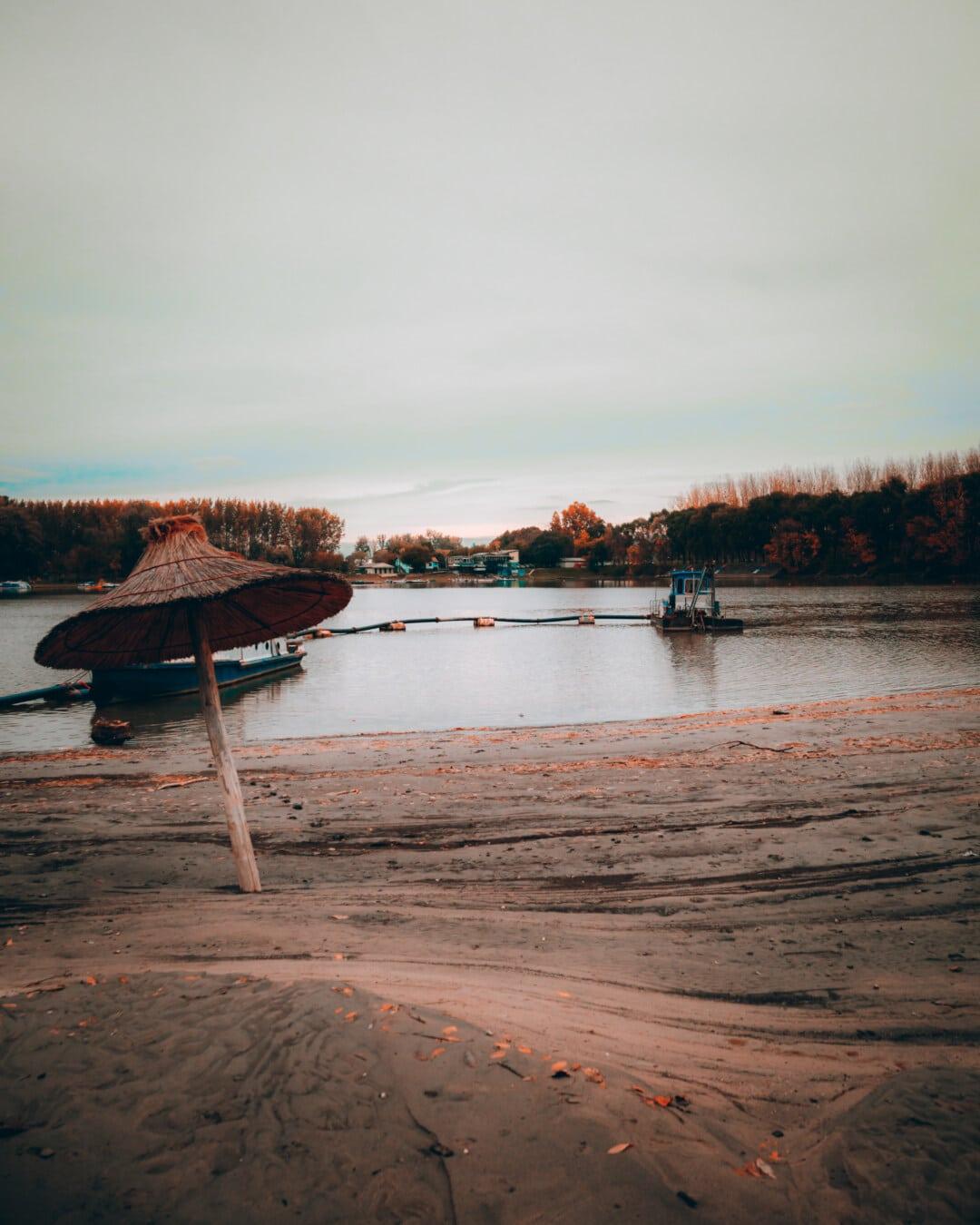 summer season, parasol, beach, ship, water, sunset, dawn, pier, boat, lake