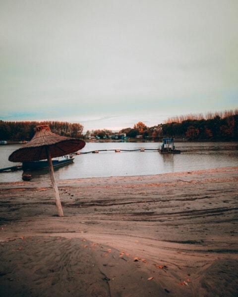 l'été, parasol, plage, navire, eau, coucher de soleil, aube, jetée, bateau, Lac
