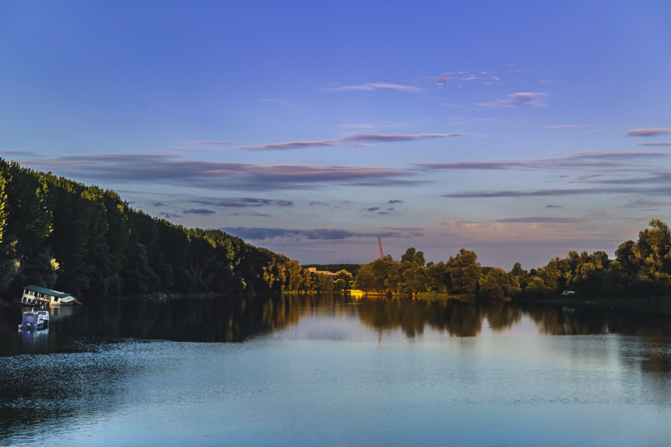 au bord du lac, soirée, rive, Lac, eau, paysage, réflexion, coucher de soleil, aube, nature