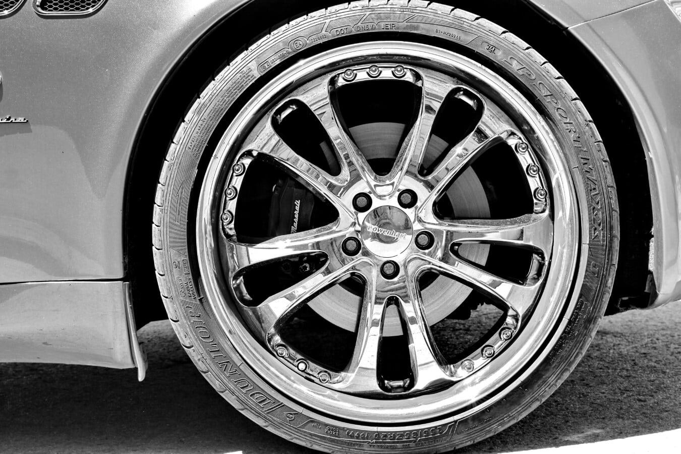 coûteux, brillante, voiture, jante, brillante, noir et blanc, en aluminium, pneu, luxe, roue