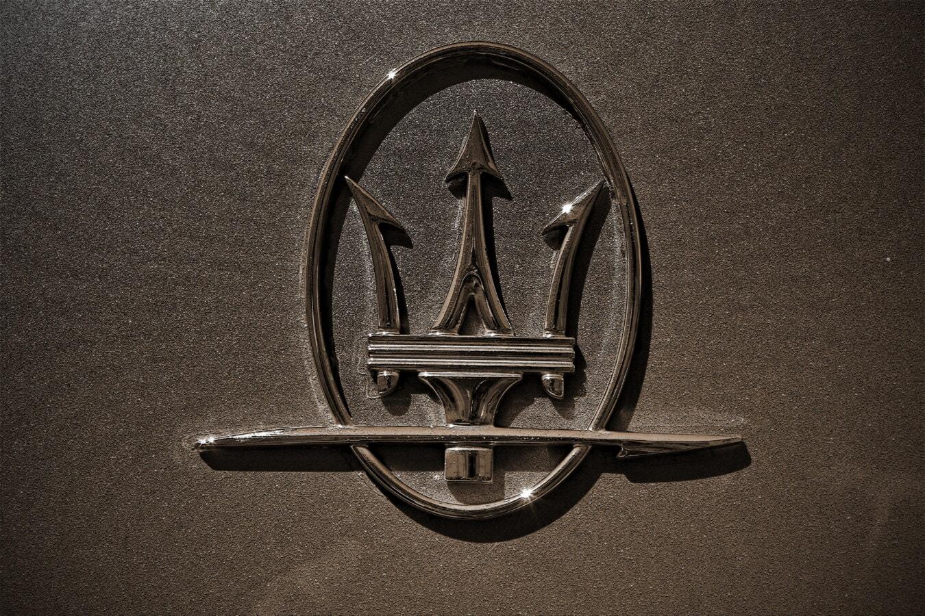 Maserati, Sepia, Symbol, glänzend, Zeichen, glänzend, Schatten, Chrom, metallische, Metall, Textur