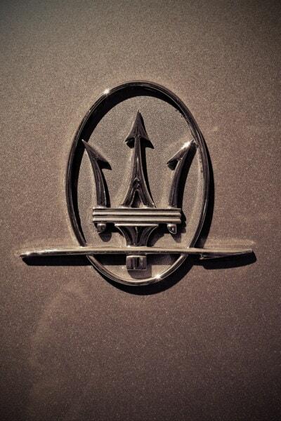 Maserati, luxe, symbole, voiture, signe, chrome, métalliques, Metal, brillante, brillante, texture