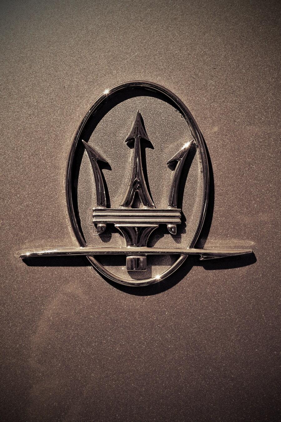 Maserati, luksus, symbolet, bil, tegn, krom, metallisk, Metal, skinner, glanset, tekstur