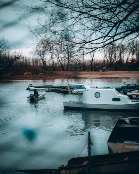 dock, autumn season, cold, boats, morning, fishing boat, motorboat, harbor, water, boat
