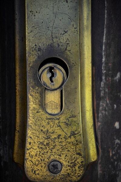 ορείχαλκος, κλειδαρότρυπα, λάμπει, μεταλλικά, γυαλιστερό, χρυσή λάμψη, πόρτα, κλειδαριά, παλιά, ασφάλεια