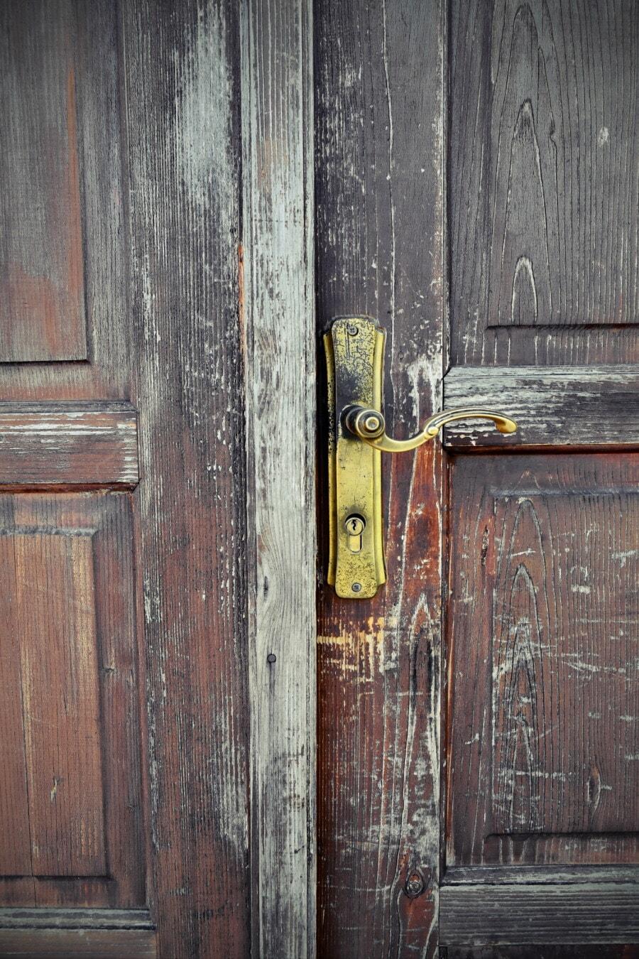 正面玄関, セキュリティ, 鍵穴, 錆, 堅材, 大工仕事, 木材, 古い, 木製, ドア