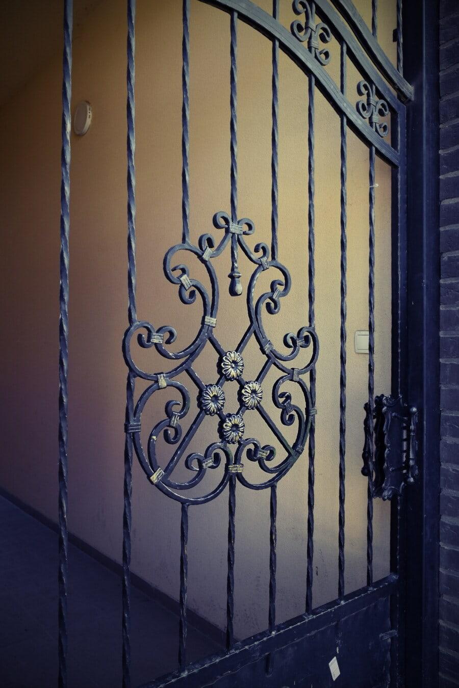 fer de fonte, Porte, fer, porte d'entrée, passerelle, écran, Porte, décoration, sécurité, vieux