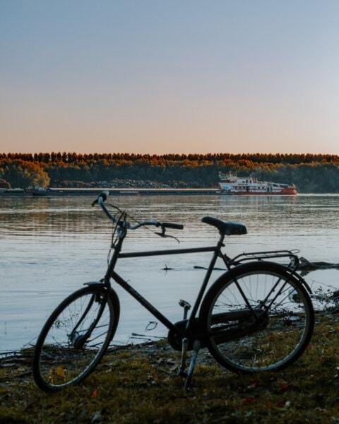 rivière, barge, Cargo, vélo, au premier plan, berge, roue, coucher de soleil, vélo, eau