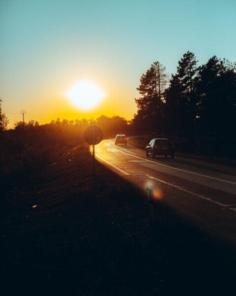 automobili, trasporto, tramonto, viaggi, auto, strada, sole, Via, traffico, autostrada