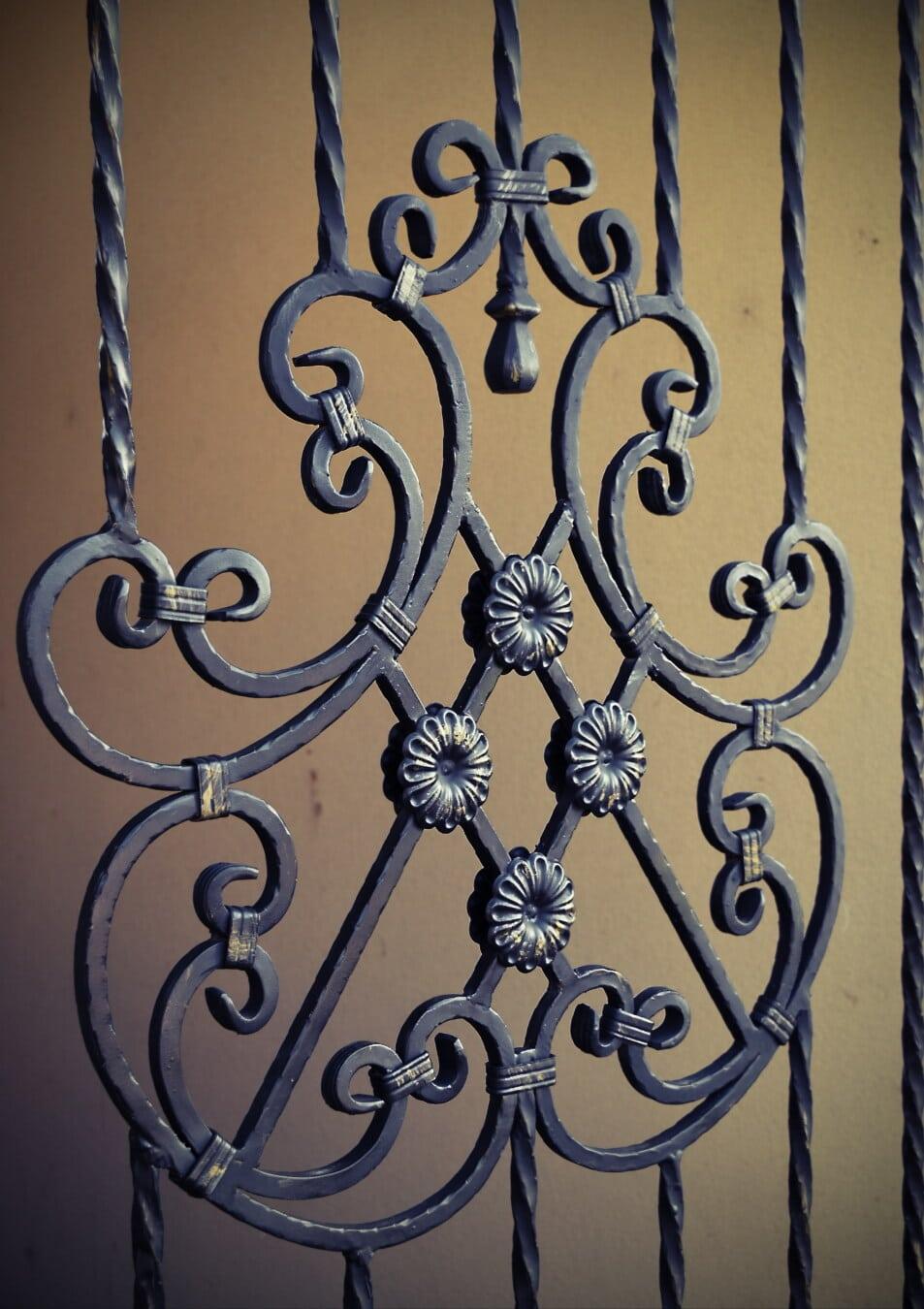 cast iron, iron, handmade, fence, front door, artistic, ornament, arabesque, decoration, antique