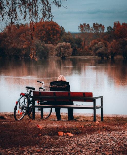 벤치, 앉아, 혼자, 여자, 자전거, 가 시즌, 강바닥, 좌석, 지역, 물