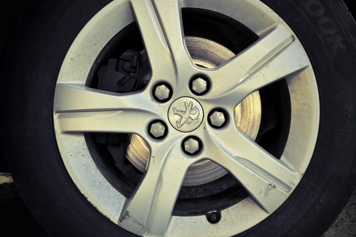 symbole, pneu, en détail, Français, jante, en alliage, en aluminium, voiture, brillante, brillante