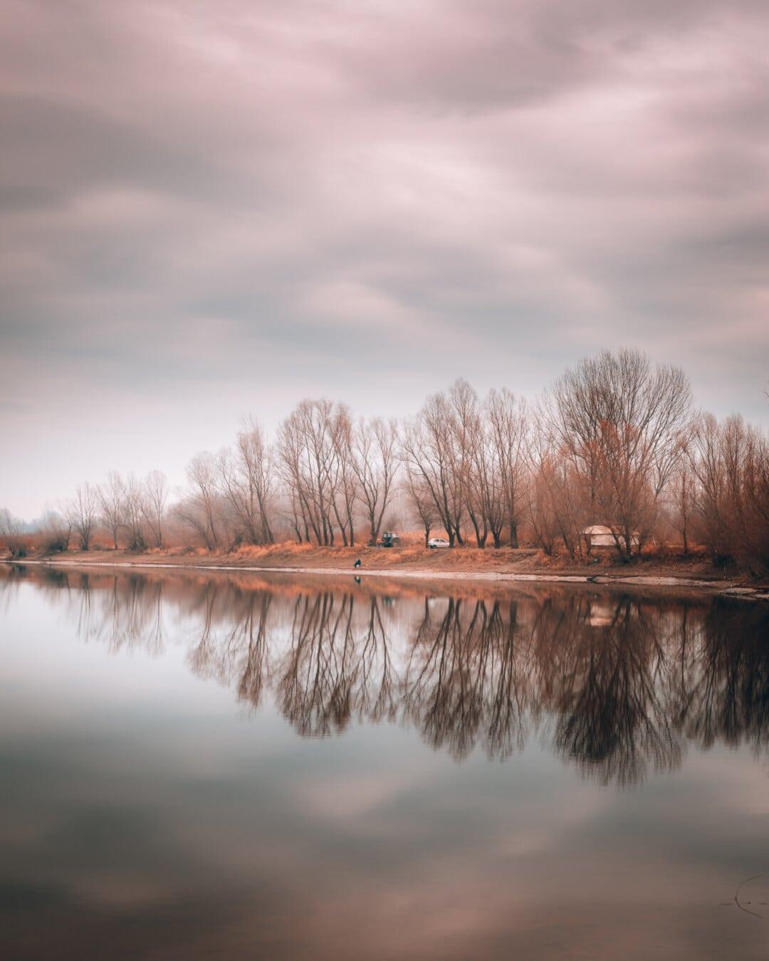 au bord du lac, saison de l'automne, mauvais temps, zone de villégiature, nuageux, paysage, arbre, réflexion, eau, Lac