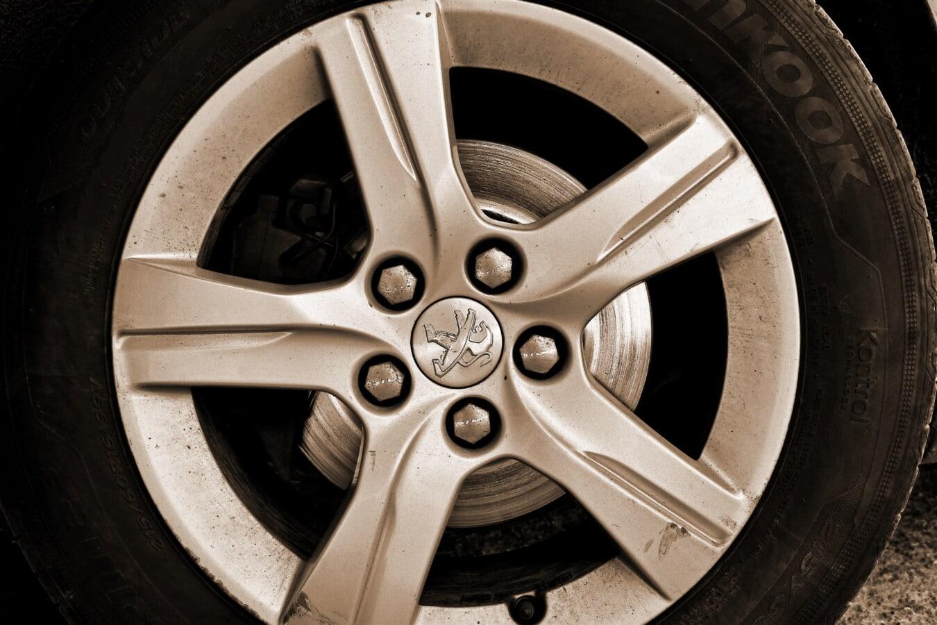 sépia, pneu, jante, en alliage, en aluminium, transport, véhicule, voiture, machine, roue