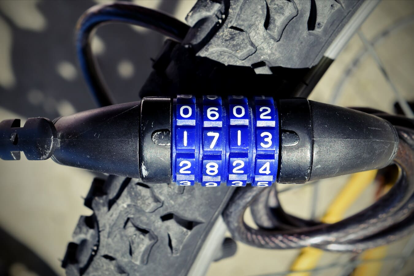 steel, bicycle, tire, lock, security, combination, number, device, fastener, machinery