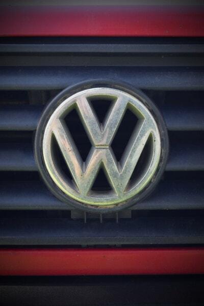 symbole, Allemagne, véhicule, voiture, en détail, chrome, brillante, métalliques, carie, sale