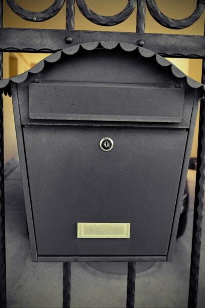 mailbox, mail slot, ornament, black, cast iron, handmade, keyhole, steel, iron, industry