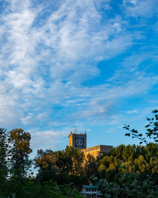 factory, silo, building, industry, blue sky, landscape, architecture, outdoors, atmosphere, nature