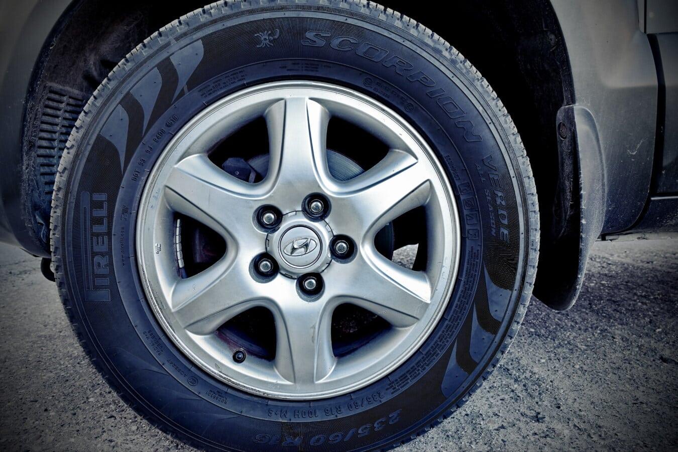 automobile, pneu, jante, brillante, métalliques, en alliage, en aluminium, asphalte, caoutchouc, roue