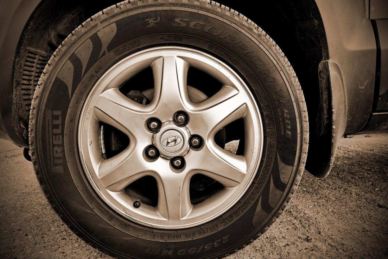 汽车, 轮胎, 棕, 脏, 轮缘, 橡胶, 合金, 近距离, 铝, 径向