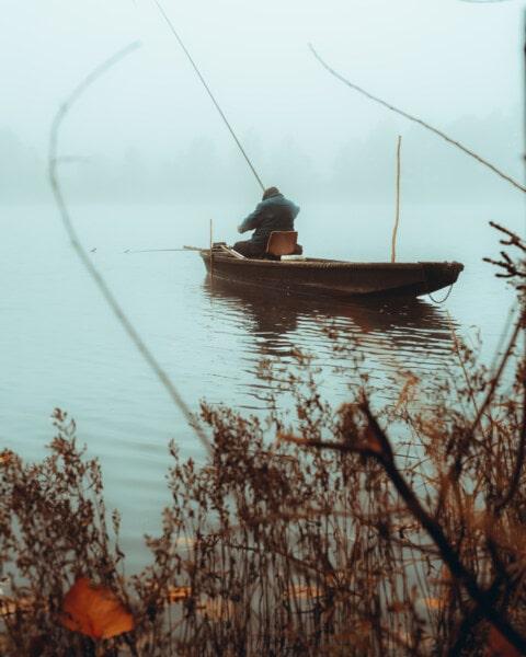 boat, fisherman, water, watercraft, lake, dawn, vehicle, river, nature, fishing boat