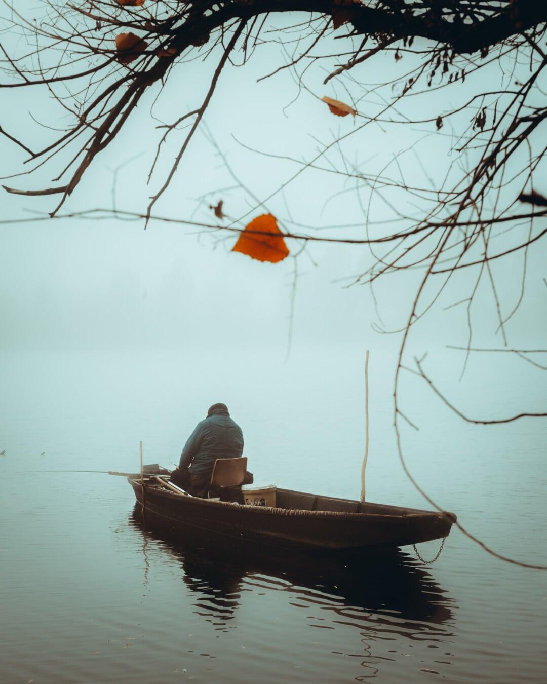 canne à pêche, bateau de pêche, pêche, homme, froide, matin, octobre, brumeux, pêcheur, eau