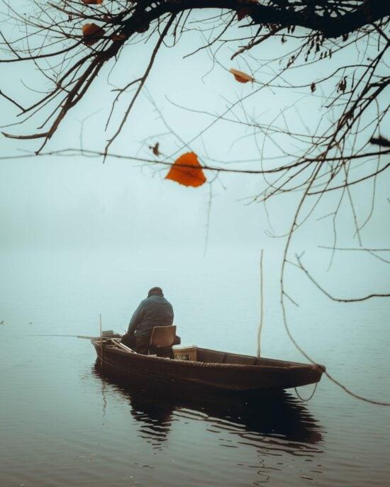 onki, kalastusvene, Kalastus, mies, kylmä, aamu, lokakuuta, sumuinen, kalastaja, vesi