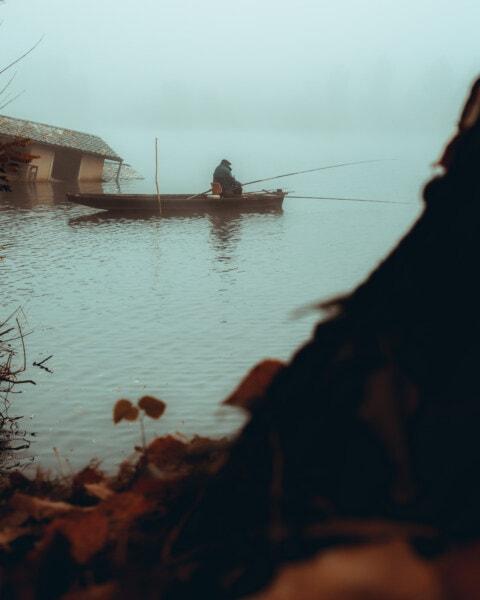 fisherman, elderly, fishing rod, fishing, fishing boat, floor, cold, floodplain, mist, boat