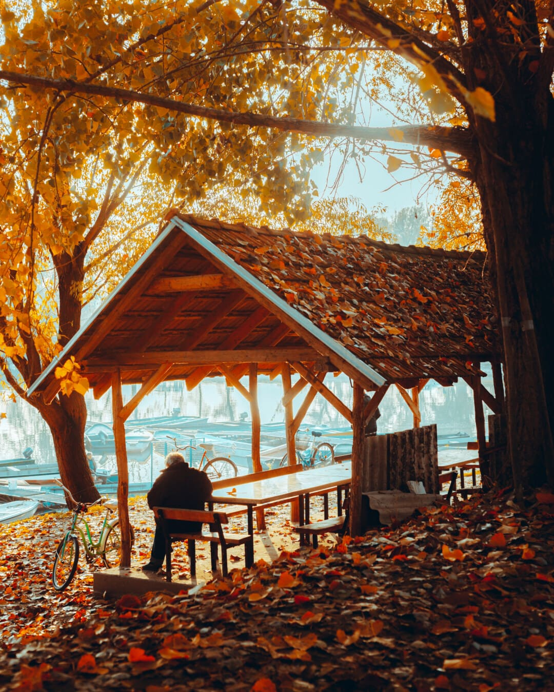 Flussufer, Schuppen, Herbst, veranda, Hafen, ältere Menschen, Mann, sitzen, Holz, Gebäude
