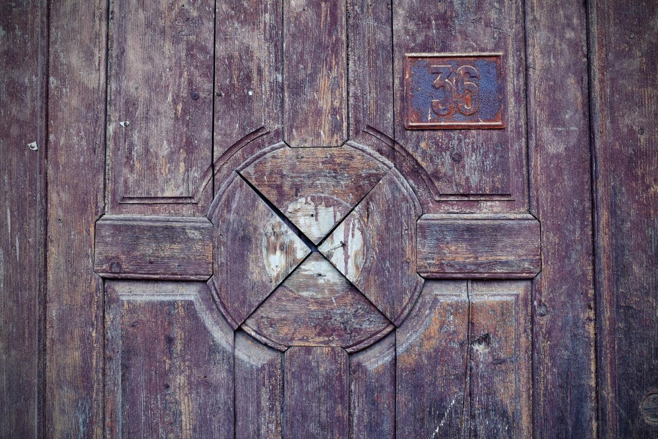 decay, front door, old, iron, rust, number, grunge, wood, retro, wooden