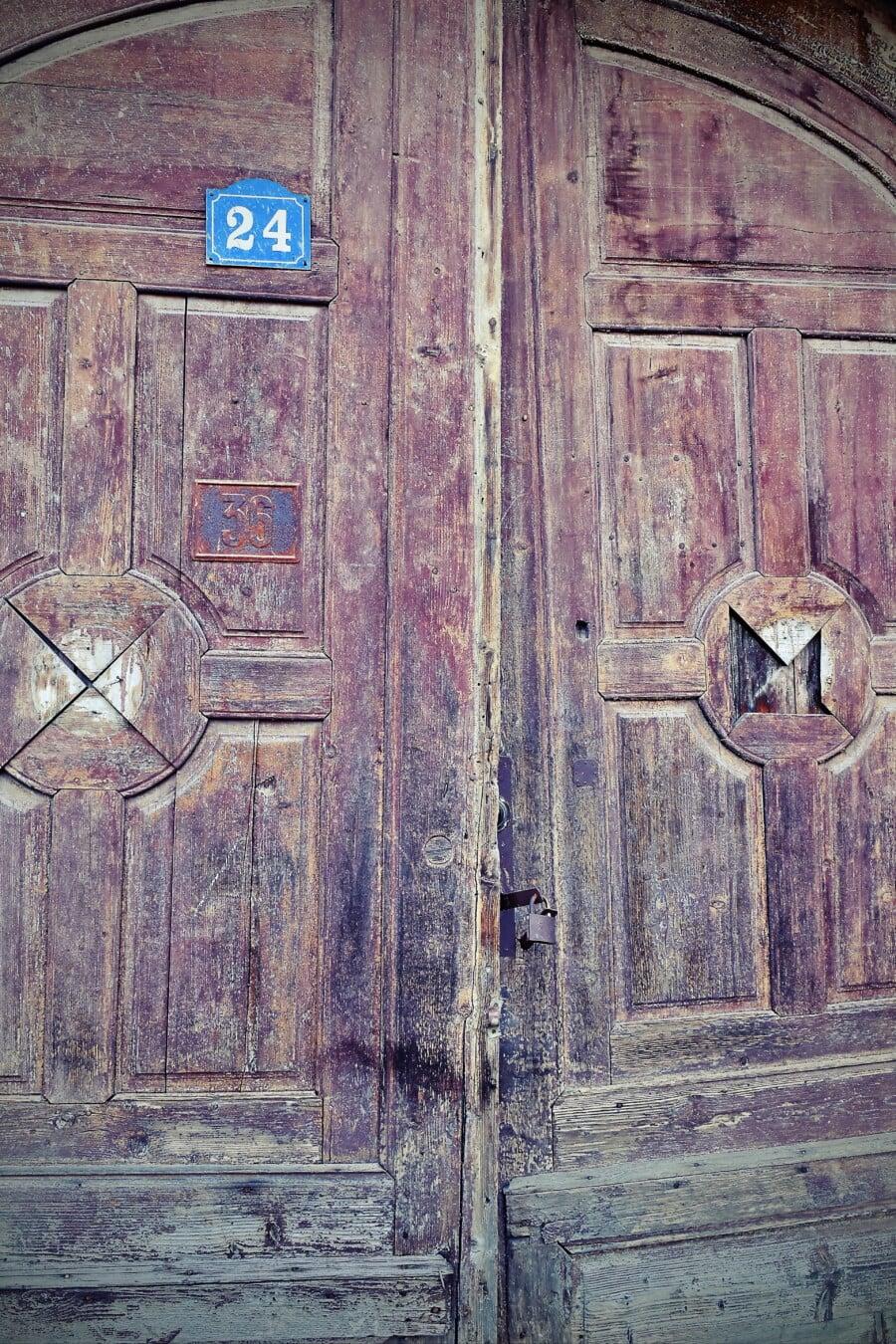 forfall, tre, grunge, inngangsdør, gamle, gateway, gammel stil, tekstur, tre, døråpning